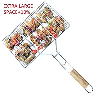 BBQ WINJ Barbecue Basket Folding for Roast BBQ Portable Grilling Basket with Wood Handle for Fish ,Vegetables , Steak ,Shrimp?Chicken Wings.