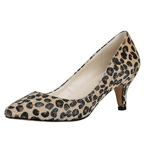 VOCOSI Women Fashion Slip On Kitten Heels Pointed Toe Pumps Court Shoes Size 3-11 UK Leopard(faux horsehair) jTGyGzQps