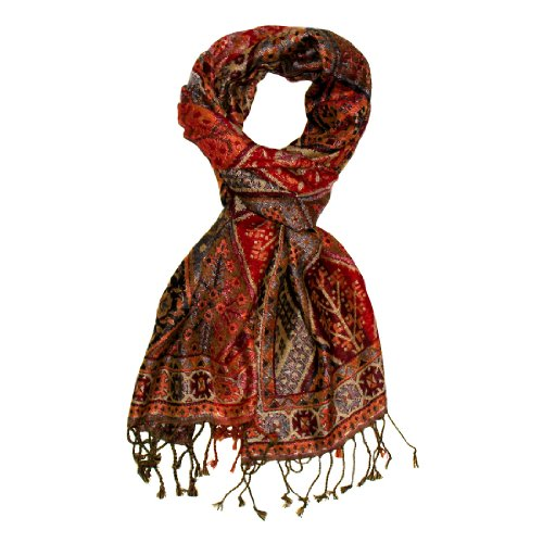 "LORENZO CANA - Womens Italian Silk Wool Scarf Pashmina Paisley 29"" x 75"" - 78097"