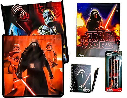 [11 item LIMITED Disney Star Wars Bundle Exclusive [Kylo Ren Stationary Set, Droid Folder, 6 Pack Pencils & Recyclable Tote bag PAIR (FIRST ORDER)(FIRE DIVISION, TIE FIGHTER SQUADRON, ELITE 8TH] (Star Wars The Force Unleashed 2 Darth Vader Costume Cheat Xbox)