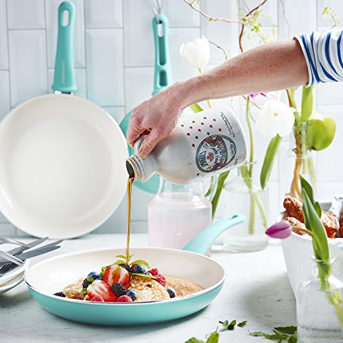 GreenLife CW000531-002 Soft Grip Absolutely Toxin-Free Healthy Ceramic Nonstick Dishwasher/Oven Safe Stay Cool Handle Cookware Set, 14-Piece, Turquoise by GreenLife (Image #5)