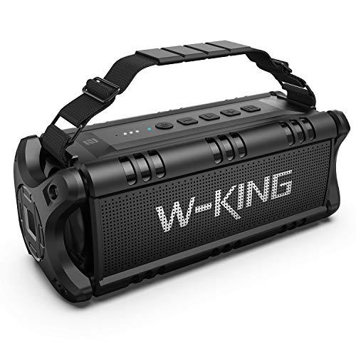 50W(70W Peak) Wireless Bluetooth Speakers Built-in 8000mAh Battery Power Bank, W-KING Outdoor Portable Waterproof TWS, NFC Speaker, Powerful Rich Bass Loud Stereo Sound (All Black)