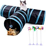MyfatBOSS Cat Tunnel, Feather Toy, Collapsible 3 Way Pet Toys Cat Tube with Ball, Tubes with Peek Hole for Cat, Puppy, Kitty, Kitten, Rabbit