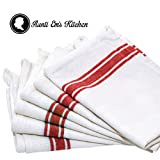 Kitchen Dish Towels with Vintage Design for Kitchen Decor Super Absorbent 100% Natural Cotton Kitchen Towels (Size: 25.5 x 15.5 inches) White with Red, 6-Pack