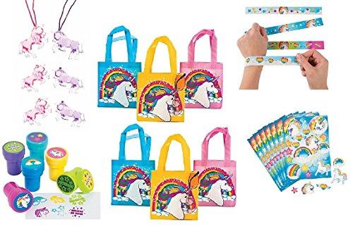 Unicorn Party Favor Bundle Set For 12 ( Mini Unicorn Bags, Unicorn Necklace,stamps, Bracelets, & Stickers)