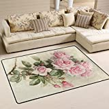 Cheap ALAZA Non Slip Area Rug Home Decor, Vintage Pink Rose Flower Durable Floor Mat Living Room Bedroom Carpets Doormats 72 x 48 inches