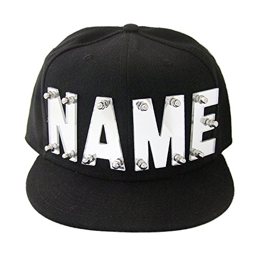 - weddinghanger2015 Mirror Silver Mirror Gold Acrylic Letters Hat, Custom Name Caps, Hip Hop Snapback, Personalized Hats Baseball Cap (Mirror Silver Color Letter)