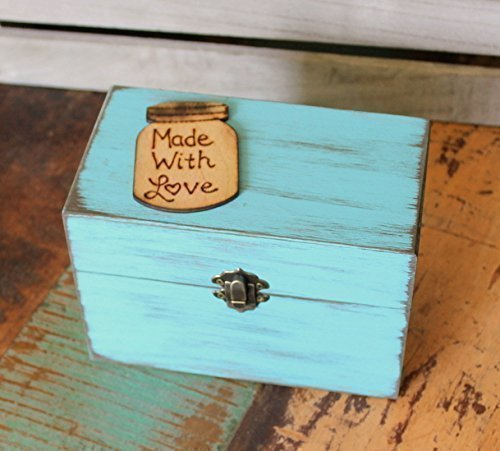 Rustic Recipe Box - Recipes Organizer - Rustic Recipe Boxes - Recipe Storage - Wood Recipe Boxes - Recipe Holder - Farmhouse Style Gift - Fixer Upper Style - Fixer Upper Market (Turquoise Blue)