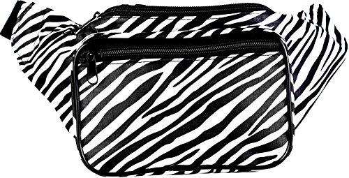 SoJourner Bags Fanny Pack - Zebra Animal Print (Black and White)