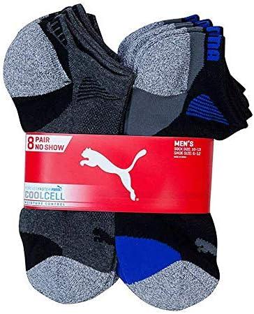 Puma Men's No display Sport Socks, Moisture Control, Arch Support (8 Pair)