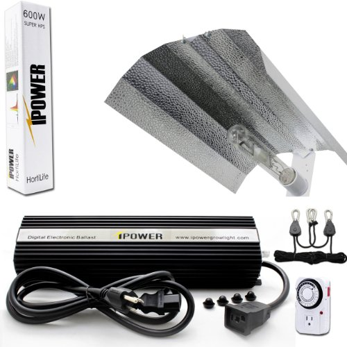 iPower 600 Watt HPS Digital Dimmable Grow Light System Kits Wing Reflector Set with Timer