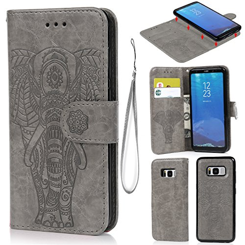 Galaxy S8 Case, Wallet Case PU Leather Cover Oil Wax Embossed Elephant Flip Protective Case TPU Cover Detachable Magnetic Card Slots Wrist Strap for Samsung Galaxy S8 Gray - Elephant Embossed