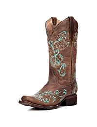 Corral Women's L5123 Dragonfly Embroidery Brown Western Boots 8.5 M