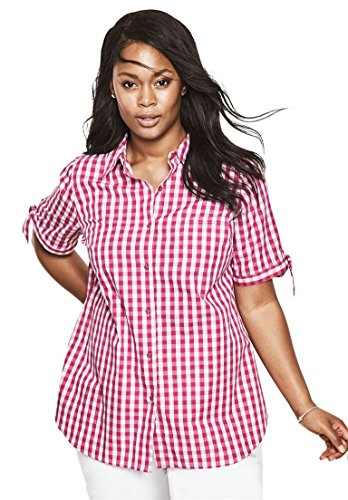 Womens-Plus-Size-French-Check-Shirt