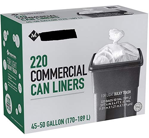 New 220 Light Duty 45 - 50 Gallon Garbage Bags Commercial Trash Can Liners Clear from Unknown
