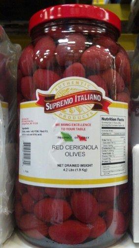 Supremo Italiano Red Cerignola Olives 4.2 Lb. (2 Pack)