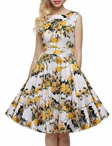 vkstar® a-line Classic Print para mujer de la 1950Retro Floral Vintage vestido de fiesta vestido de cóctel vestidos de dama primavera jardín Picnic té amarillo claro