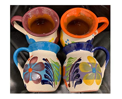 no!no! 4 Large Mexican Coffee Mugs Jarritos Mexicanos Flower Design Tazas de Barro Micnocana Ponchero Hot Chocolate Champurrado Tepache Pulque Traditional Clay Party Dish China Made in Mexico