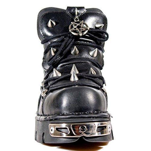 New Rock Unisex Schwarzes Leder SchnŸrschuhe mit einem Spike Design und Pentagram Amulett
