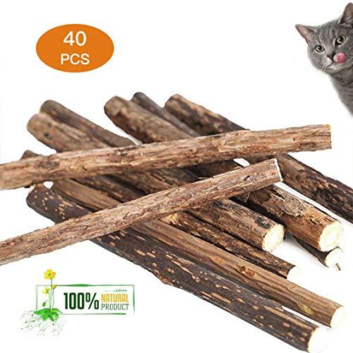 Deyace Catnip Sticks 40 PCS Organic Cat Catnip Toys Natural Plant Matatabi Silver Vine Chew Sticks Cat Teeth Cleaning Chew Toy for Cat Kitten Kitty