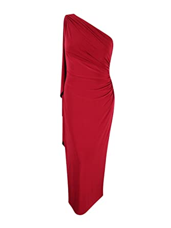 Lauren Ralph Lauren Womens Ruched One Shoulder Evening Dress at ...