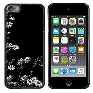 KLONGSHOP // Cubierta de piel con cierre a presión Shell trasero duro de goma Protección Caso - Flores blancas Wallpaper Naturaleza Blooming Art - Apple iPod Touch 6 6th Touch6 //