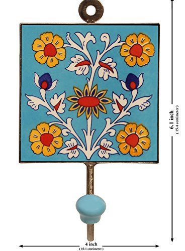 Souvnear square ceramic iron wall hook with flower design for Ways to hang hats on wall