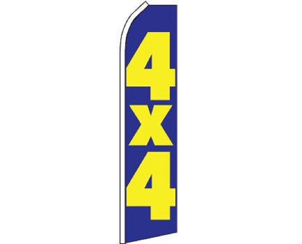 4x4 Blue Yellow Swooper Super Feather Advertising Marketing Flag