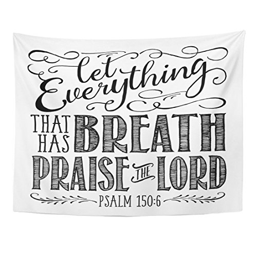 istian Biblical Elegant Swashes Accents from Psalms Let Everything Home Decor Wall Hanging for Living Room Bedroom Dorm 60x80 Inches ()
