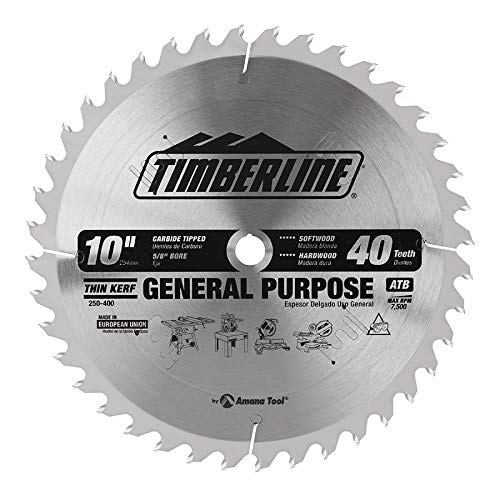 eneral Purpose and Finishing 10-Inch Diameter by 40-Teeth by 5/8-Inch Bore, ATB Grind Thin Kerf Carbide Tipped Saw Blade ()
