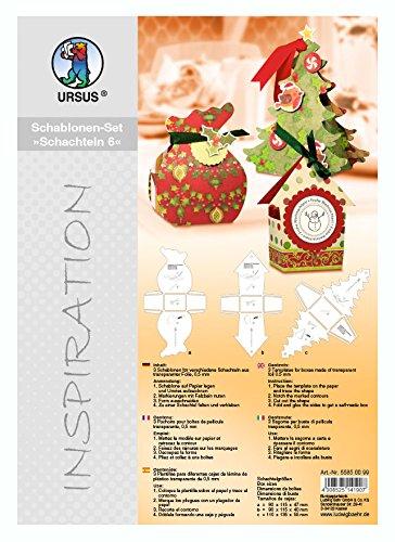URSUS 55850099–Inspiration Set 6, 3stencil Stencil per decorazione SCATOLE regalo, multicolore Ludwig Bähr