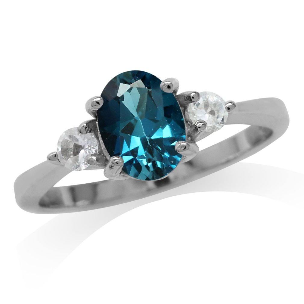 1.5ct. Genuine London Blue Topaz White Gold Plated 925 Sterling Silver Engagement Ring Size 9.5