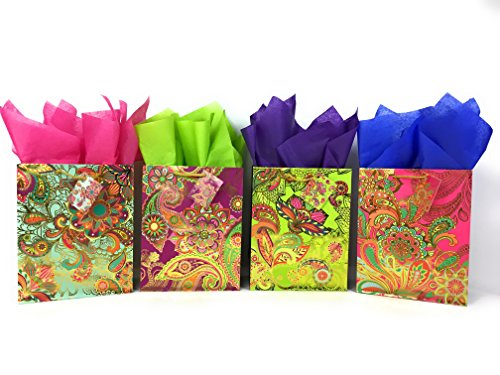 Colorful Gift Bags + Tissue Paper with Foil Accents (4 Medium Bags + Tissue, Paisley Floral)