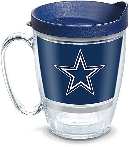 Tervis 1257581 NFL Dallas Cowboys Legend Coffee Mug With Lid, 16 oz, Clear