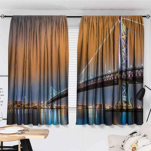Apartment Decor Collection Eclipse Blackout Curtains Ben Franklin Bridge and Philadelphia Skyline Viewed from Camden Across The Delaware River Patio Bedroom Curtains W96 x L107 Inch Peach (Camden Set Beige Living Linen Room)