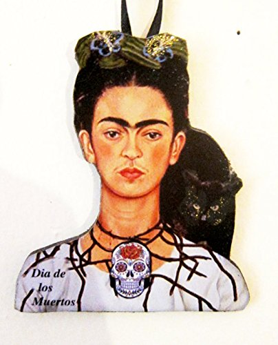 Frida Kahlo, Day of the Dead Ornament, Handcrafted Wood, Dio de Muertos, Mexican Painting, Art Lover's Gift, Woman Self-Portrait, Black Cat ()
