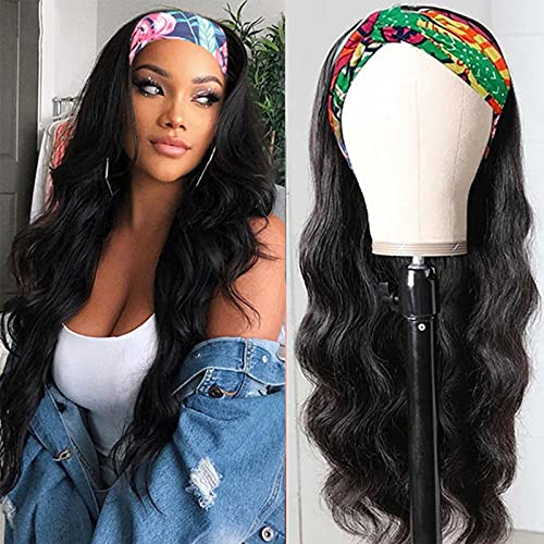 Women's Fashion Black Wig Synthetic Hairlong Wigs Hair Wave Wig, Natural Synthetic European And American Wig Long Curling Wave Wig Synthetic Headband Wig(Black02)