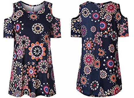 b991e0342dc Image Unavailable. Image not available for. Color: Women's Black Floral  Print Casual Cold Shoulder Tunic Tops ...