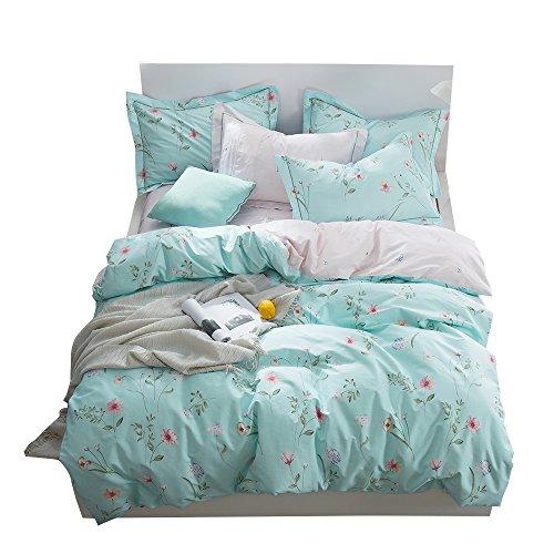 OTOB Floral Bedding Duvet Cover Queen Set for Teen Kids Girl Flower Print Bedding Sets Full Size Cotton 100 Blue, Reversible Lightweight Soft by OTOB (Image #1)