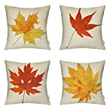 4 Packs Autumn Leaves - Square Decorative Fall Maple Leaf Throw Pillow Case Cushion Cover 18 X 18 Inch by Hippih