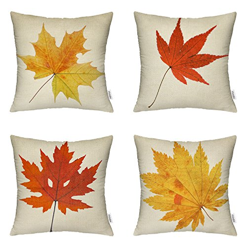 HIPPIH 4 Packs Leaves - Square Decorative Fall Maple Leaf Throw Pillow Case Cushion Cover 18 X 18 Inch