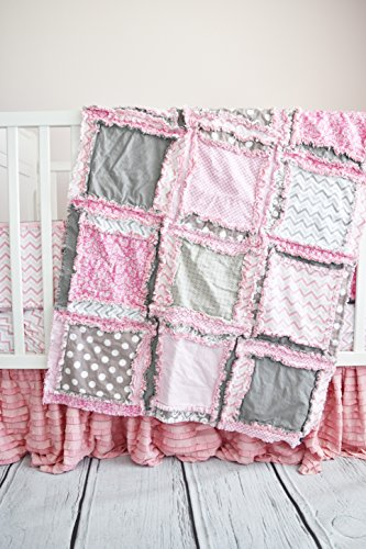 Baby Girl Crib Quilt - Pink / Gray - QUILT ONLY by A Vision to Remember