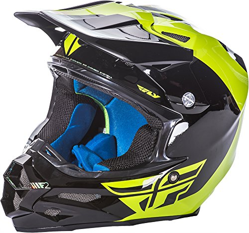 Fly Racing 73-4131S Unisex-Adult Full-Face-Helmet-Style F2 Carbon Pure Helmet (Hi-Vis/Black, (Vis Racing Carbon Fiber)