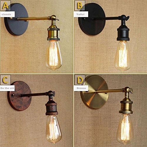 5151BuyWorld Antike Wandleuchten E27 Lampe überzog Loft Retro Vintage mit Metallfuß und Birnen Sconce 110V 220V schwarz [B, Lichtquelle 220V]