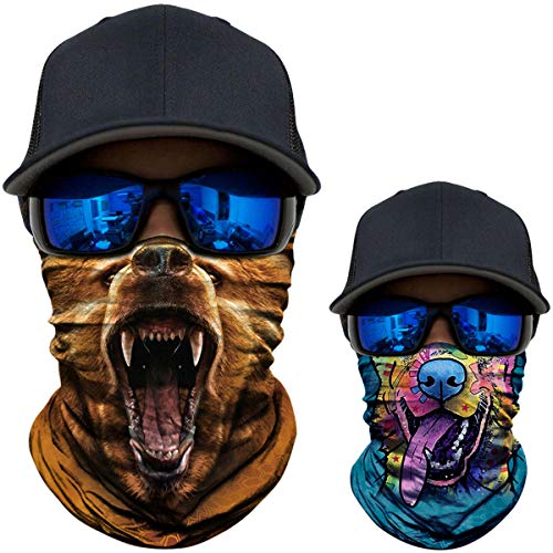 2 Pack - 3D Animal Neck Gaiter Scarf Bandana Face Mask Seamless UV Protection for Motorcycle Cycling Riding Running Fishing Hiking Camping Brown Bear + -