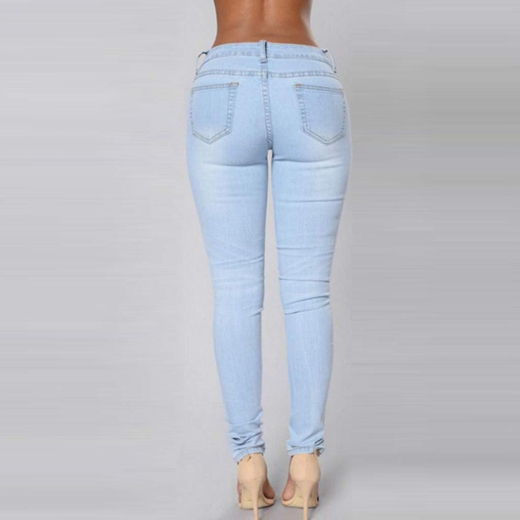 Ansenesna Zerissene Damen Jeans Skinny Elegant R/öhrenjeans Frauen Vintage Denim Hose Mit L/öchern