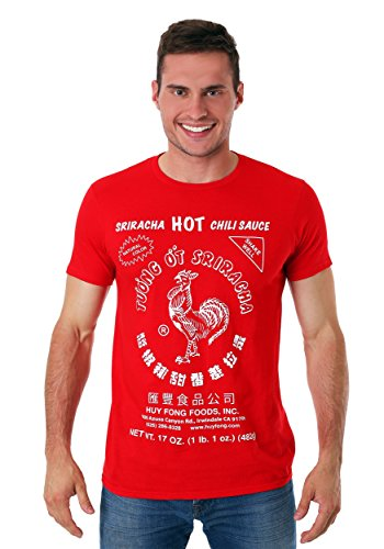 Sriracha Bottle Halloween Costume (Sriracha Men's Hot Chili Sauce T-Shirt, Red,)