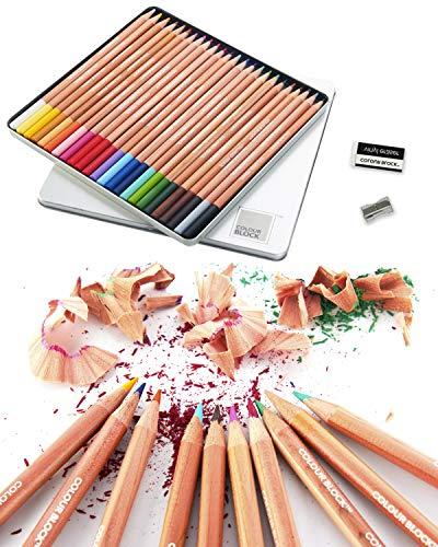 COLOUR BLOCK Colored Pencil Set - 24 PC, 24 Colored Pencils with Premiun Cedar Handle and Bonus Vinyl Eraser and Sharpener in a Tin Storage Box.