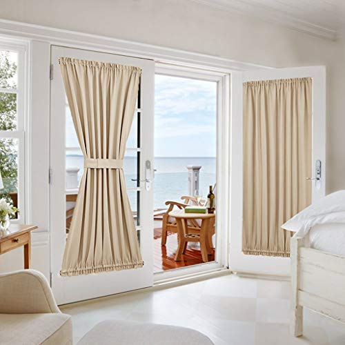 "NICETOWN Door Curtain Window Panel - Room Darkening Window Treatment French/Sliding/Patio Door Blind Drapery for Privacy (One Panel, 54"" Wide x 72"" Long, Cream Beige) from NICETOWN"