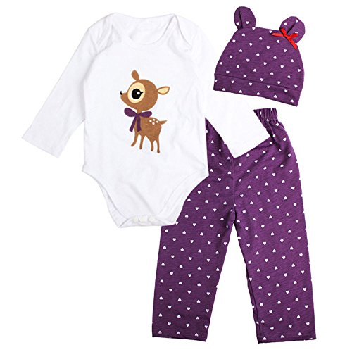 Hot Sale ! FEITENGTD Toddler Infant Baby Boy Girl Animal Funny Lovely 3PCS Cotton Romper + Pants + Hat Outfits Clothes Set (Cute-Deer, 12M) ()